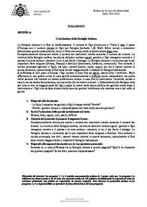 Examen de Selectividad: Italiano. Asturias. Convocatoria Junio 2014