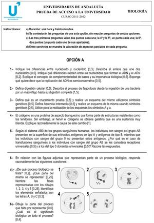 Examen de Selectividad: Biología 2. Andalucía. Convocatoria Junio 2012