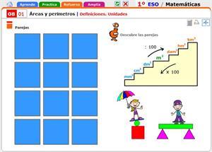 Definiciones y unidades de áreas y perímetros. Matemáticas para 1º de Secundaria