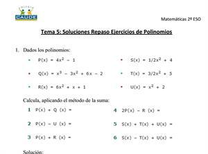 Ejercicios resueltos de repaso de polinomios