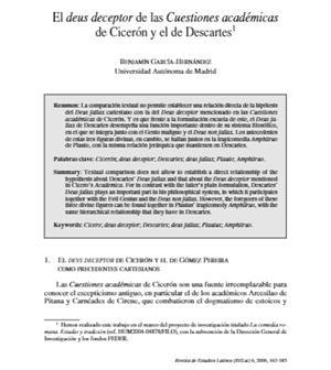 El deus deceptor de las Cuestiones académicas de Cicerón y el de Descartes. Revista de Estudios Latinos (FECYT)