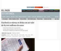 Facebook se estrena en Bolsa con un valor de 82.000 millones de euros | Economía | EL PAÍS