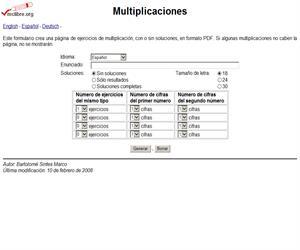 Página para generar Multiplicaciones de Bartolomé Sintes Marco