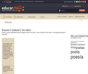 Ernesto Cardenal y los niños (Educarchile)