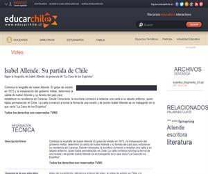 Isabel Allende. Su partida de Chile (Educarchile)