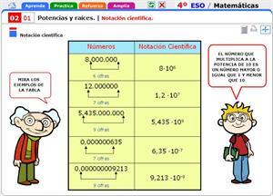 Notación científica de potencias y raíces. Matemáticas para 4º de Secundaria