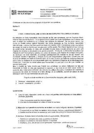 Examen de Selectividad: Francés. La Rioja. Convocatoria Junio 2014