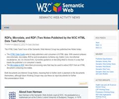RDFa, Microdata, y RDF. 2 Notas publicadas por el W3C HTML Data Task Force. Semantic Web Activity News