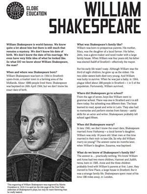 William Shakespeare. Fact sheets (The Shakespeare Globe)