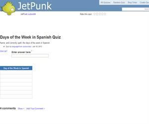 Days of the Week in Spanish Quiz