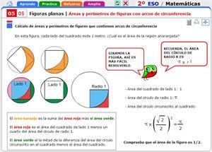 Áreas y perímetros de figuras con arcos de circunferencia. Matemáticas para 2º de Secundaria