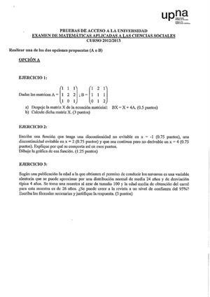 Examen de Selectividad: Matemáticas CCSS. Navarra. Convocatoria Julio 2013
