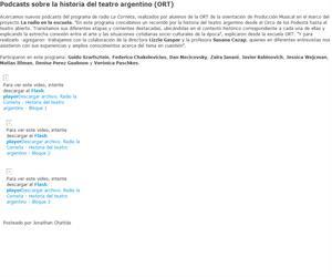 Podcasts sobre la historia del teatro argentino (ORT)