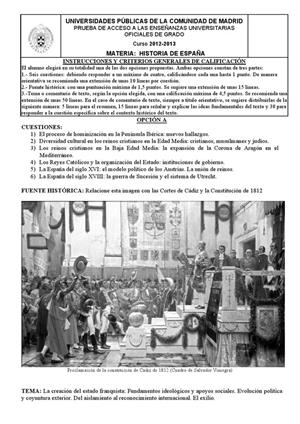 Examen de Selectividad: Historia de España. Madrid. Convocatoria Septiembre 2013