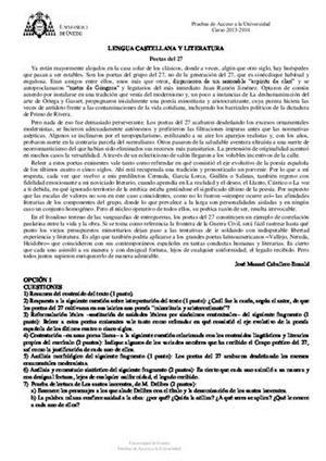 Examen de Selectividad: Lengua castellana y su Literatura. Asturias. Convocatoria Junio 2014