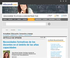 Necesidades formativas de los docentes en el ámbito de las altas capacidades | Xènia Moliner (Educaweb.com)