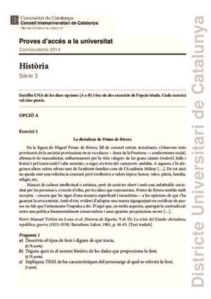 Examen de Selectividad: Historia de España. Cataluña. Convocatoria Junio 2014