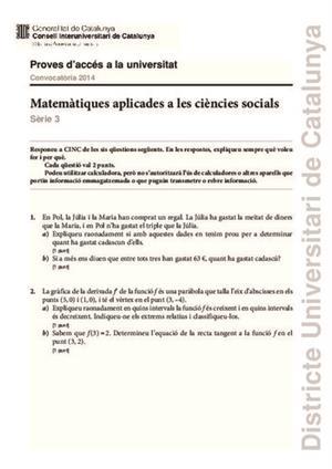 Examen de Selectividad: Matemáticas CCSS. Cataluña. Convocatoria Junio 2014