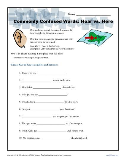 Hear vs. Here – Commonly Confused Words Worksheet
