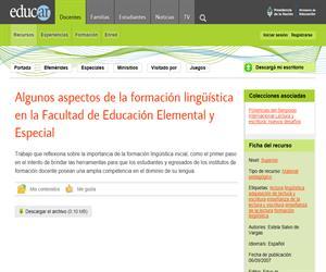 Algunos aspectos de la formación lingüística en la Facultad de Educación Elemental y Especial