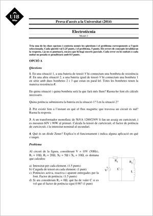 Examen de Selectividad: Electrotecnia. Islas Baleares. Convocatoria Junio 2014