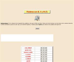 Palabras con B, V y W (VII), ortografía interactiva