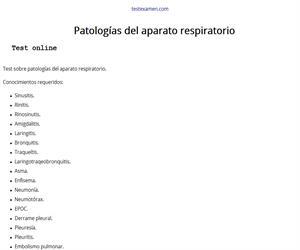 Test: Patología del aparato respiratorio
