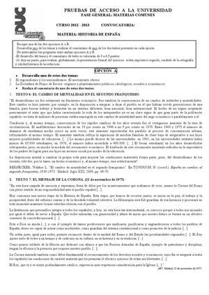 Examen de Selectividad: Historia de España. Canarias. Convocatoria Junio 2013
