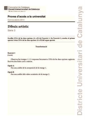 Examen de Selectividad: Dibujo artístico. Cataluña. Convocatoria Junio 2014