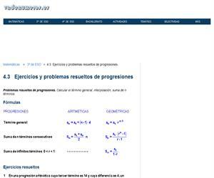 Ejercicios y problemas resueltos de progresiones (vadenumeros.es)
