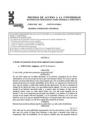 Examen de Selectividad: Literatura universal. Canarias. Convocatoria Julio 2013