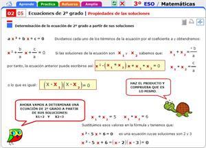 Propiedades de las soluciones de las ecuaciones de segundo grado. Matemáticas para 3º de Secundaria