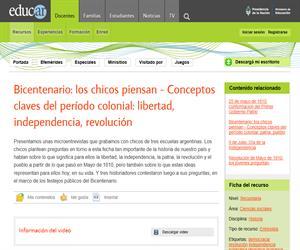 Bicentenario: los chicos piensan - Conceptos claves del período colonial: libertad, independencia, revolución