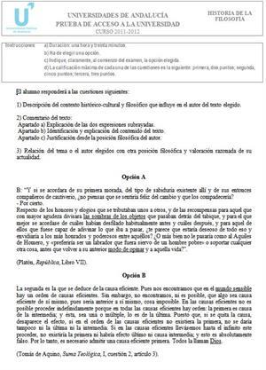 Examen de Selectividad: Historia de la Filosofía 1. Andalucía. Convocatoria Junio 2012