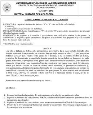 Examen de Selectividad: Historia de la Filosofía. Comunidad de Madrid. Convocatoria Junio 2012