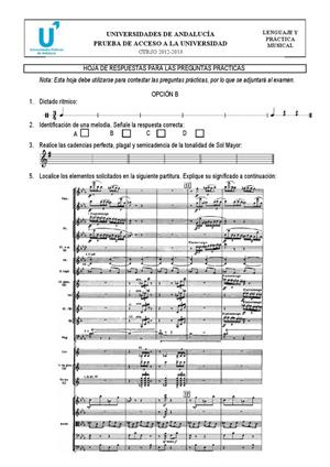 Examen de Selectividad: Lenguaje y práctica musical (hoja de respuestas 2). Andalucía. Convocatoria Septiembre 2013