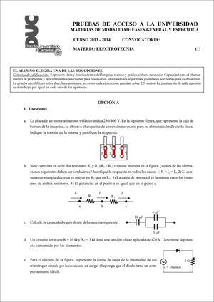 Examen de Selectividad: Electrotecnia. Comunidad Canaria. Convocatoria Junio 2014