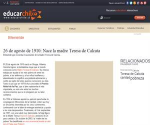 Efeméride nacimiento de la Madre Teresa de Calcuta (Educarchile)