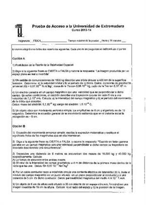 Examen de Selectividad: Física. Extremadura. Convocatoria Junio 2014