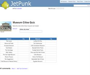 Museum Cities Quiz