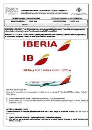 Examen de Selectividad: Diseño. Comunidad Valenciana. Convocatoria Junio 2014