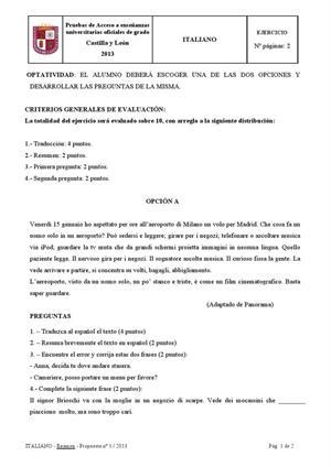 Examen de Selectividad: Italiano. Castilla y León. Convocatoria Junio 2013