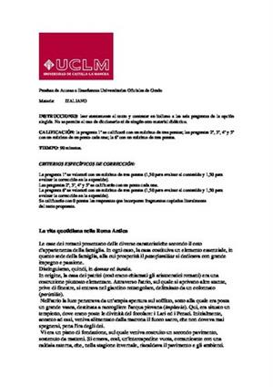 Examen de Selectividad: Italiano. Castilla-La Mancha. Convocatoria Junio 2014