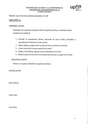 Examen de Selectividad: Análisis musical. Navarra. Convocatoria Julio 2013