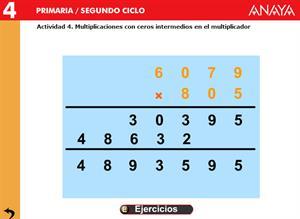 Operaciones. Multiplicaciones con ceros dentro de los factores. Editorial Anaya
