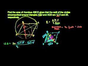 Ejercicio de geometría: área del rombo (Khan Academy Español)