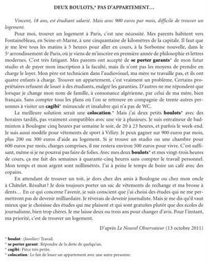 Examen de Selectividad: Francés. Cataluña. Convocatoria Junio 2012