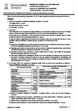 Examen de Selectividad: Economía. Aragón. Convocatoria Junio 2014