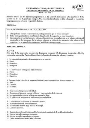 Examen de Selectividad: Economía. Navarra. Convocatoria Julio 2013