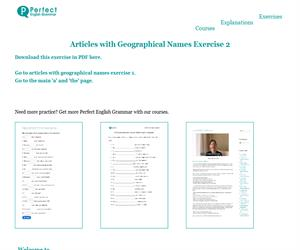 Articles with Geographical Names Exercise 2